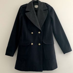 Pull and Bear wool coat military style navy